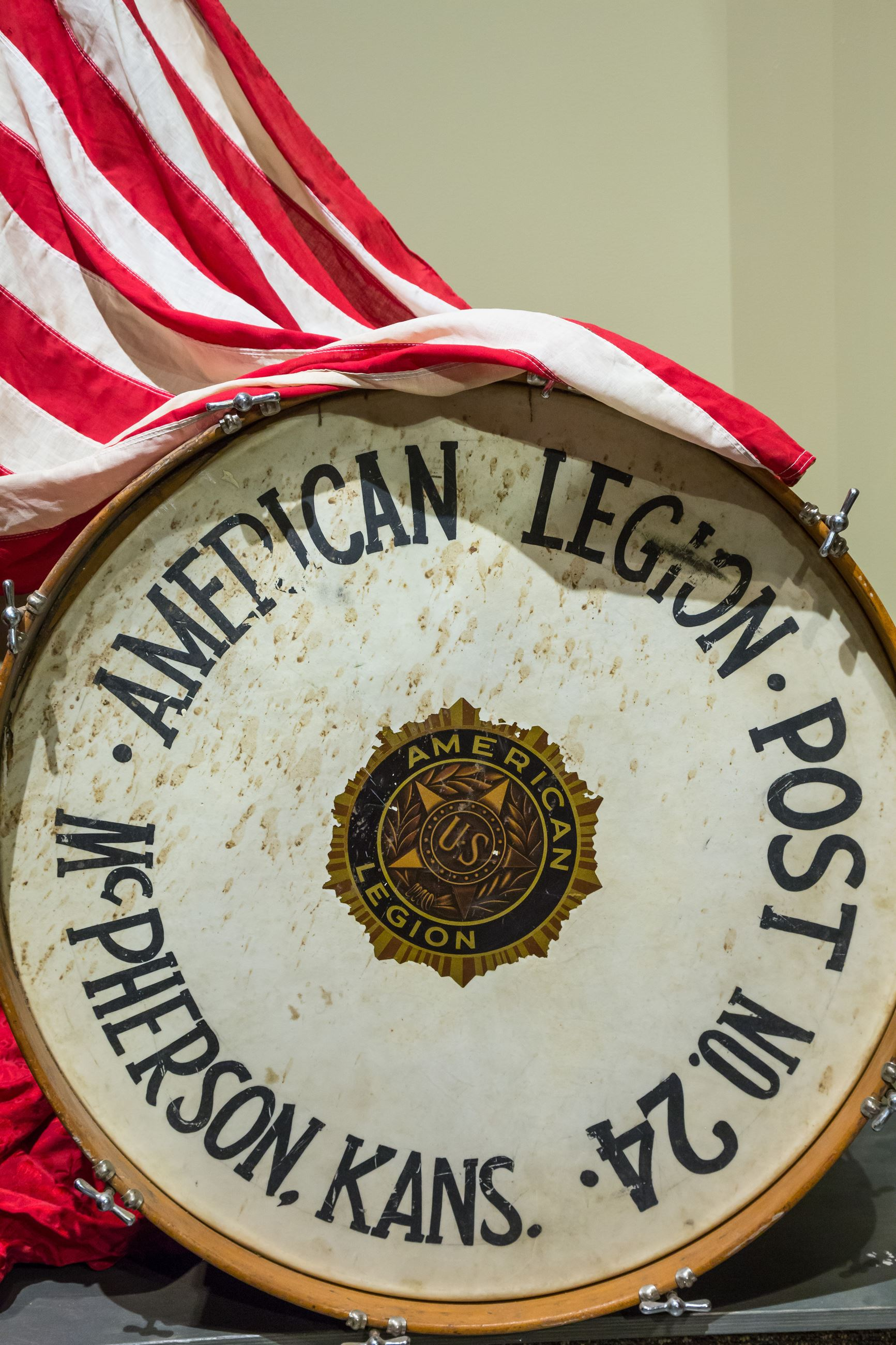 This is a picture of an antique drum from the American Legion Post 24