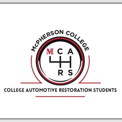 Logo promoting McPherson College Cars Club using a gear shift design