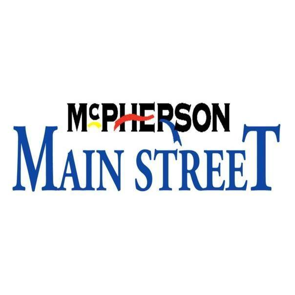 Black and blue letters representing the logo for MCPHERSON MAIN STREET