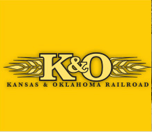 Yellow background with black letters K and O representing a railroad company