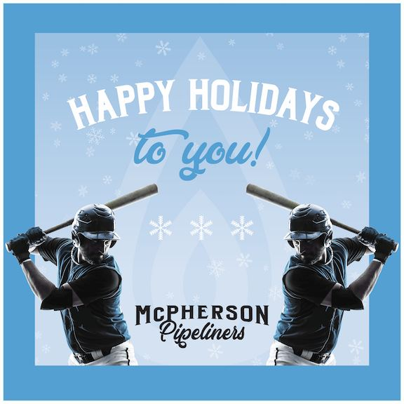 Blue Background with black baseball player silhouettes and the words HAPPY HOLIDAYS