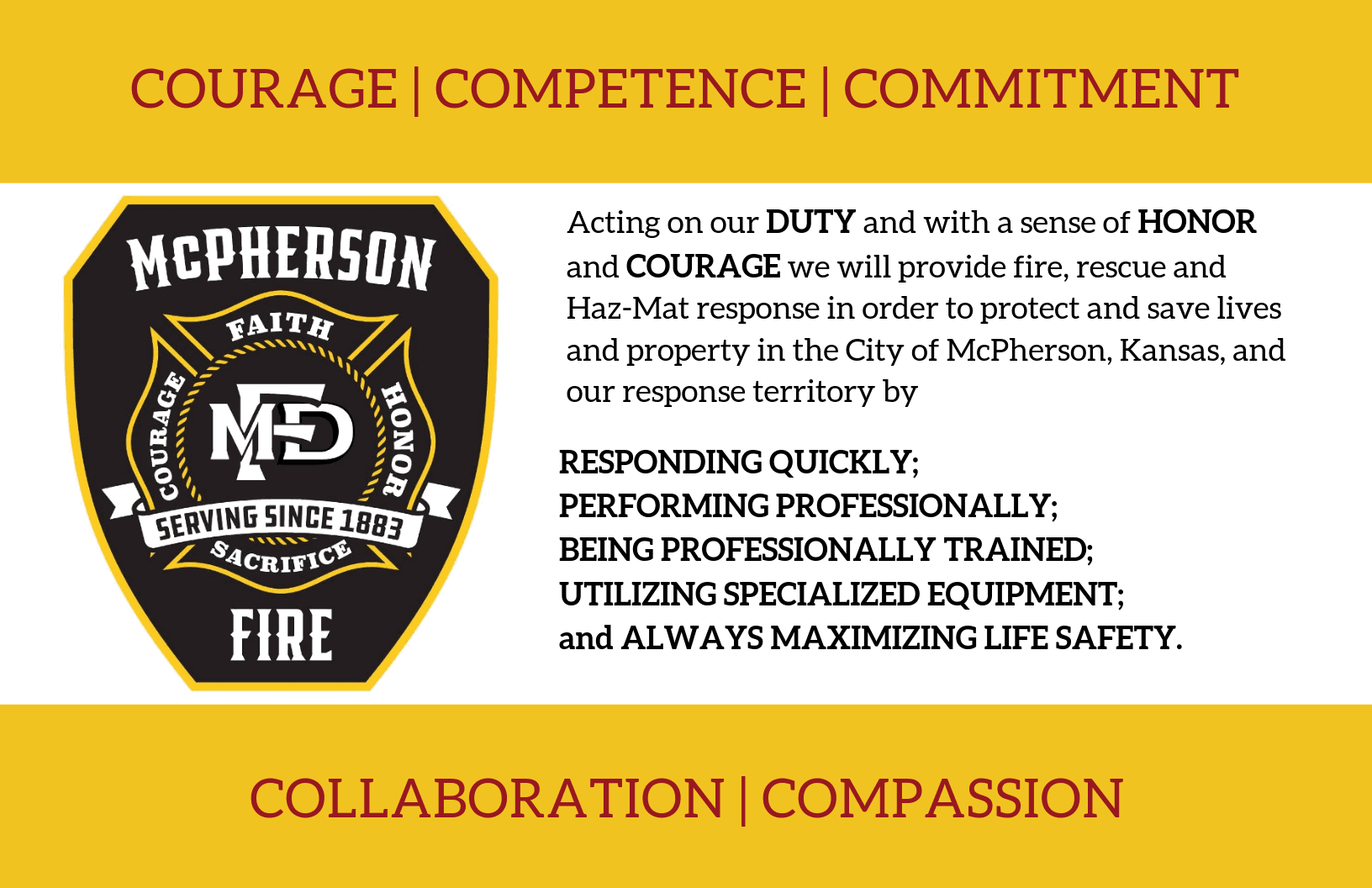 Poster design with badge image and mission statement for McPherson Fire Department