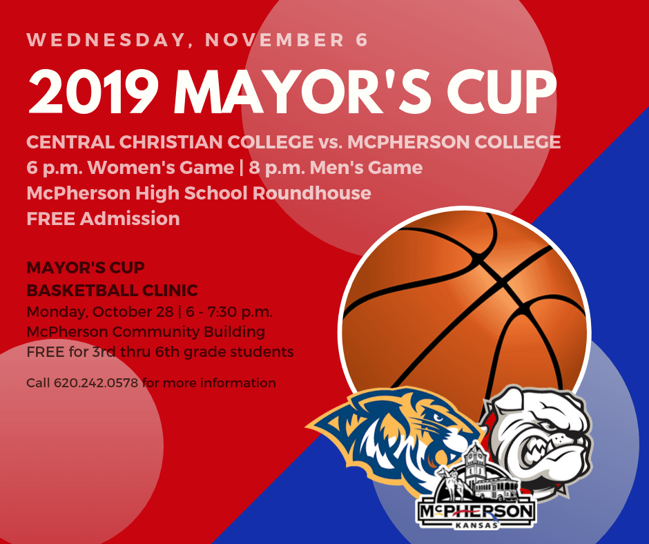 Flyer promoting annual Mayors Cup Basketball Classic between Central Christian College and McPherson