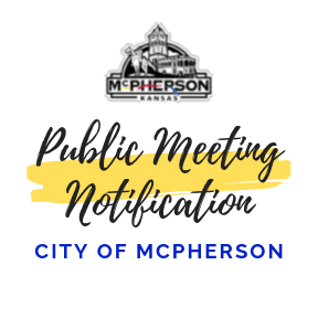 Notification promoting a public meeting hosted by the City of McPherson