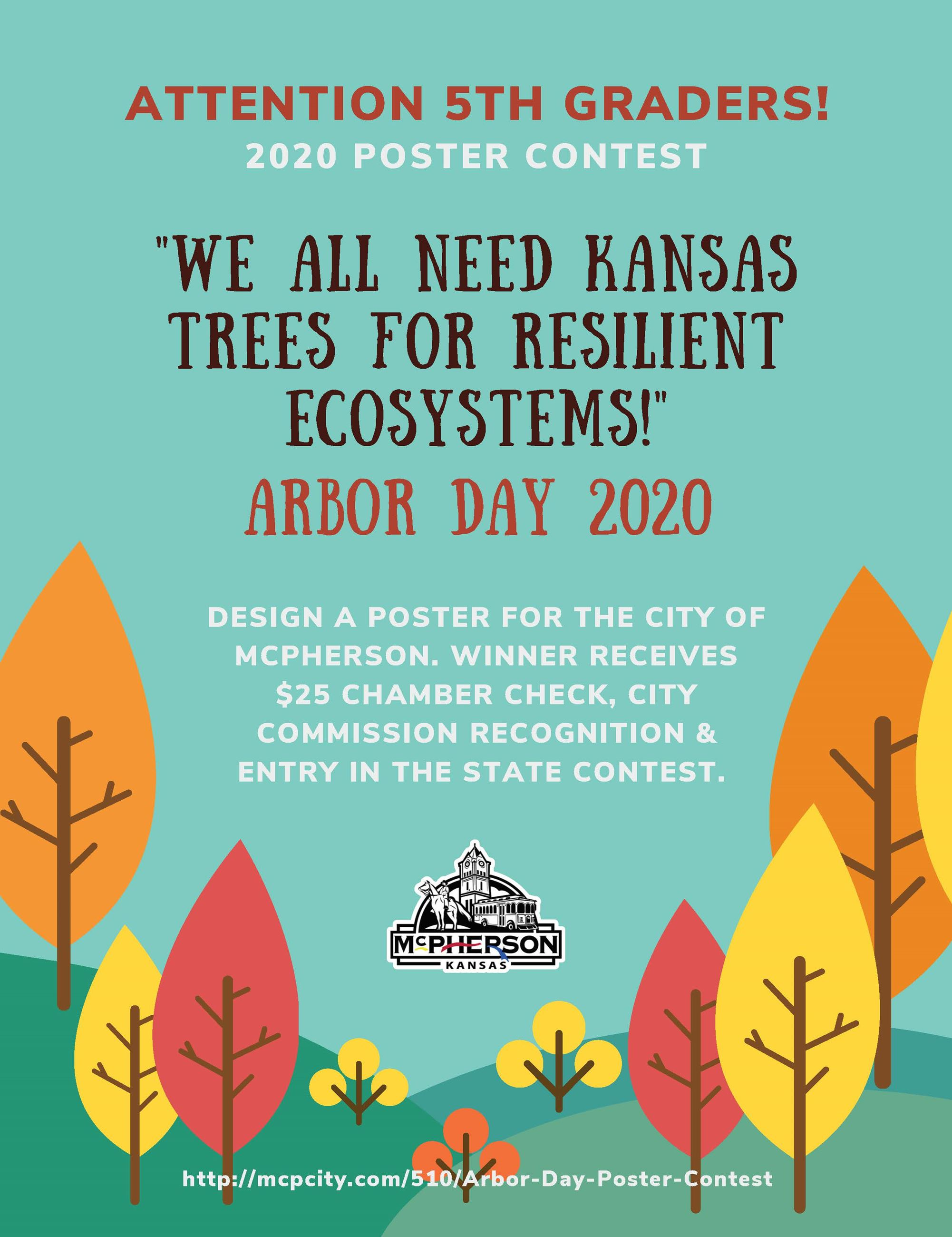 Colorful poster with fall trees promoting the annual Arbor Day Poster Contest sponsored by the City