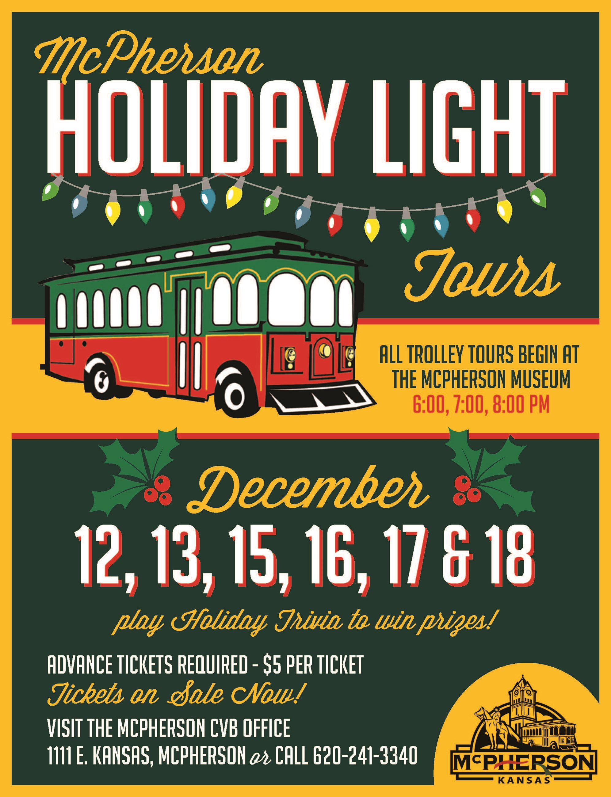 Poster using a cartoon trolley to promote the Holiday Lights Tour