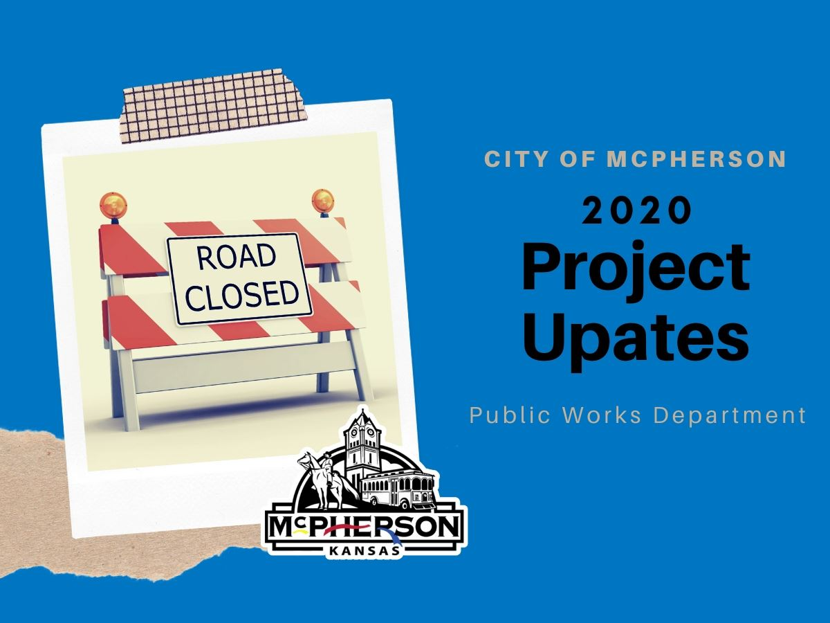 An image promoting 2020 road construction projects associated with the City of McPherson public work