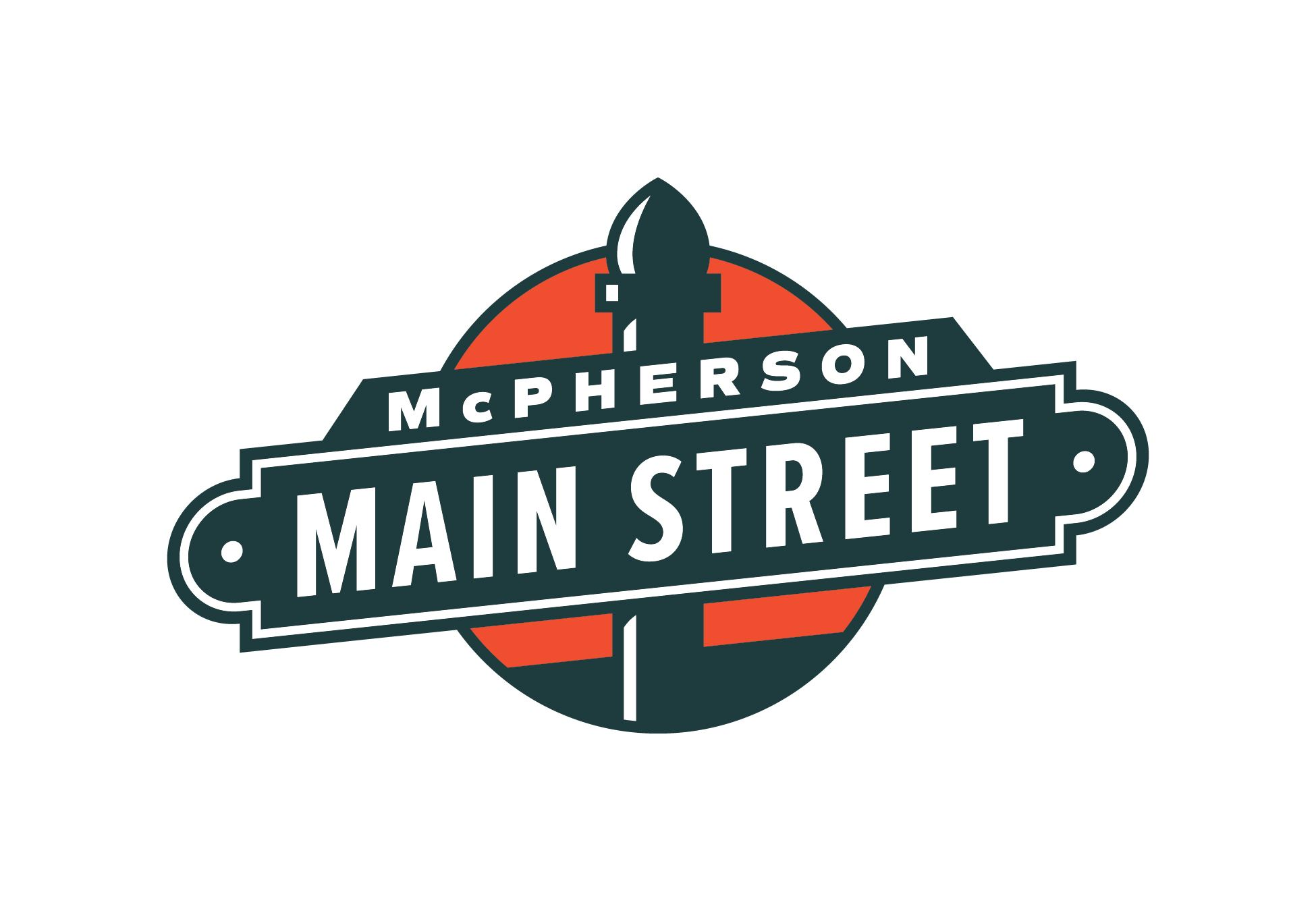 Promotional street sign with the words McPherson Main Street