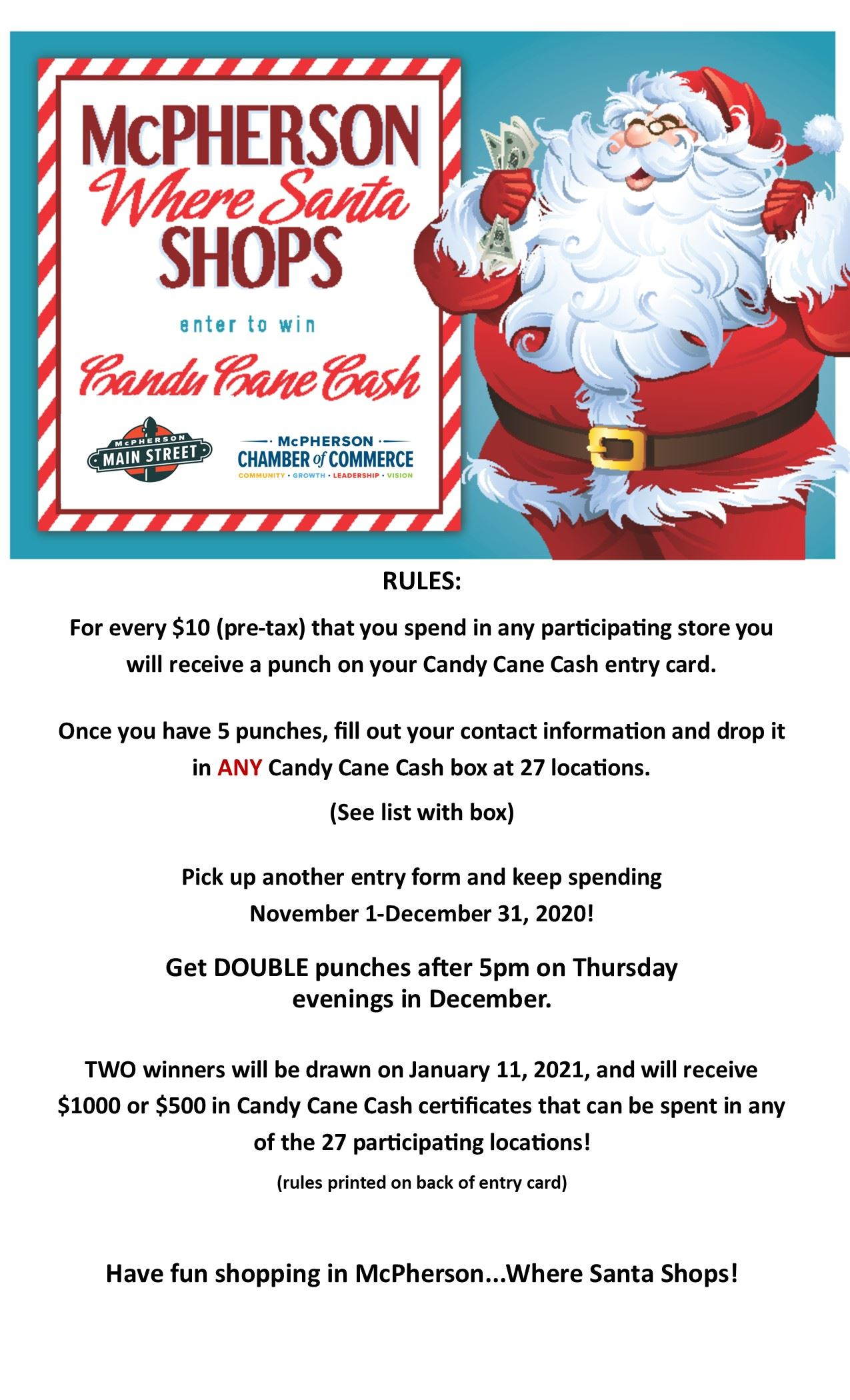Poster promoting Candy Cane Cash Promo