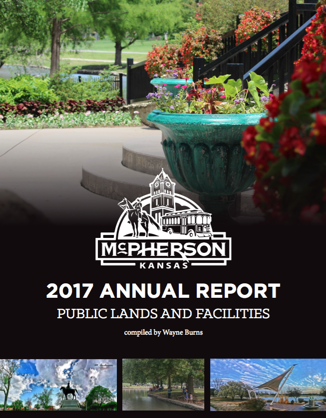 Colorful spring flowers in a park with the words MCPHERSON KANSAS 2017 ANNUAL REPORT PUBLIC LANDS AN