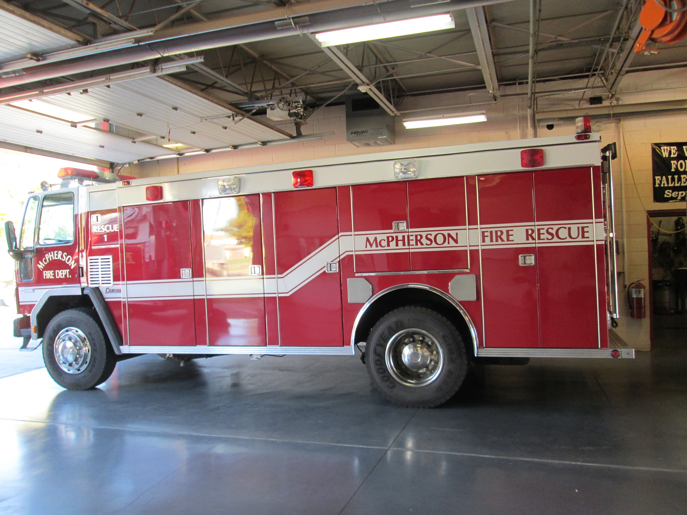 Red and white fire rescue engine.